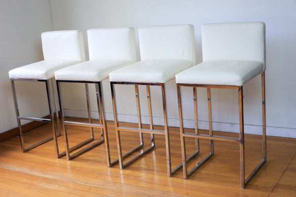 Modern Chrome and Leather Bar Chairs