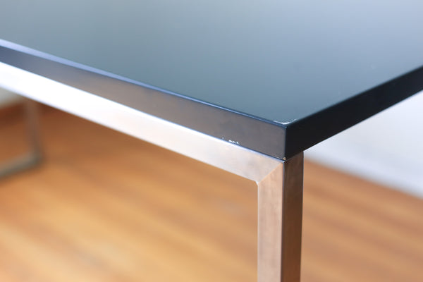 Modern Dining Table with a Stainless Steel Base