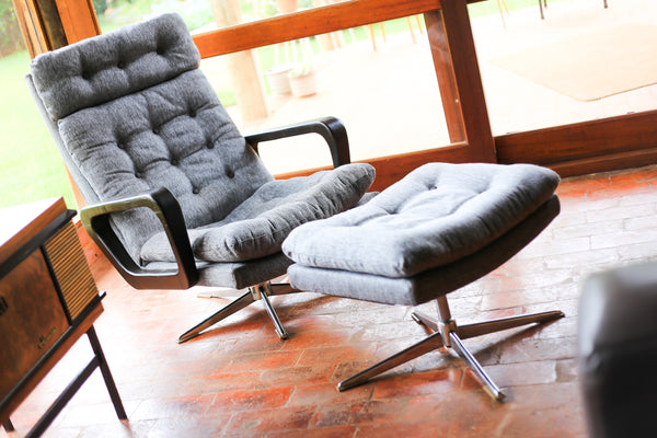 Mid Century Lounge Chair with Ottoman