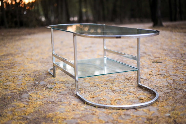 Art Deco Style Chrome and Glass Coffee Table