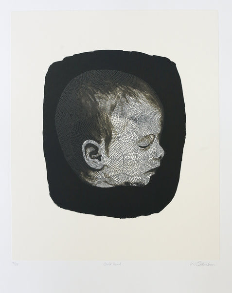 'Child Head' by Walter Oltmann - Two Colour Lithograph