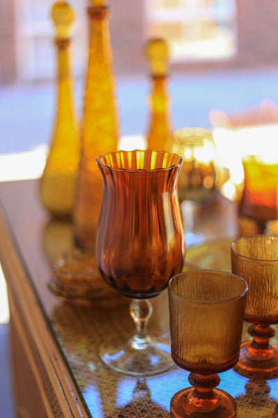 Collection of Vintage Amber Glass Items