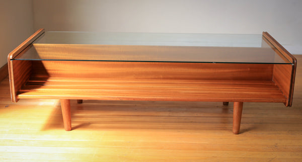 Glass Top Mid Century Coffee Table