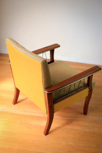 Mid Century Armchair with Brass Detail