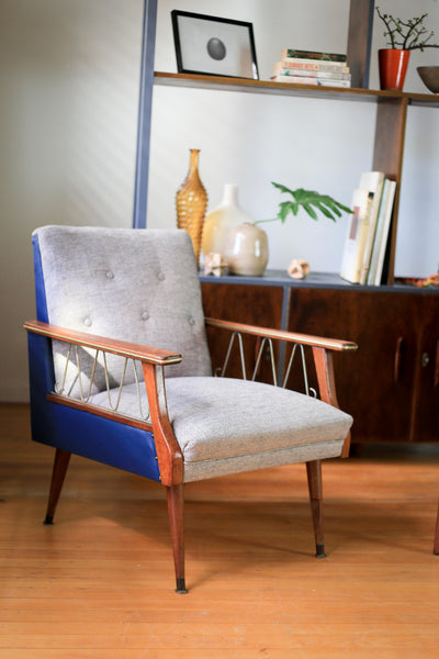 Blue and Grey 50's Armchair