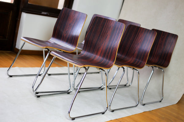 Bent Plywood and Chrome Dining Chairs