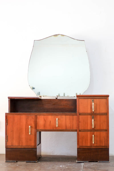 Art Deco Dressing Table with Shield Shaped Mirror