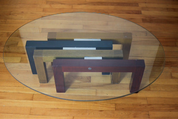 Tempered Glass Oval Coffee Table on a Four Wood Base