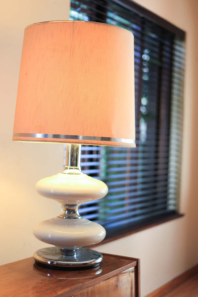 1970's Chrome and Ceramic Table Lamp