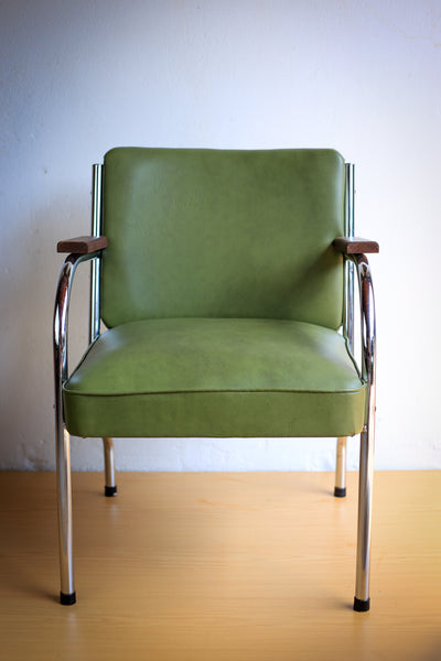 Green 1950's Police Office Waiting Chairs