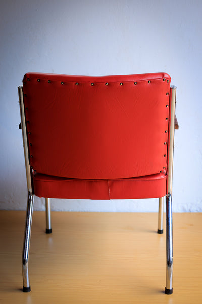 Red 1950's Police Office Waiting Chairs