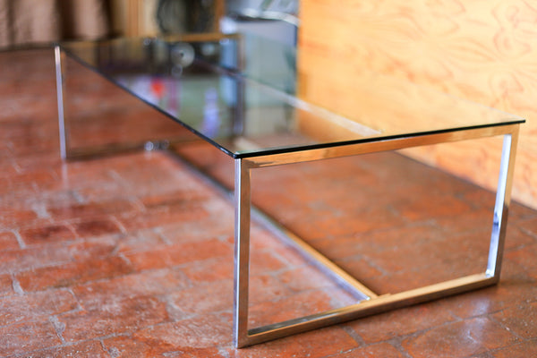 Retro Chrome and Glass Coffee Table