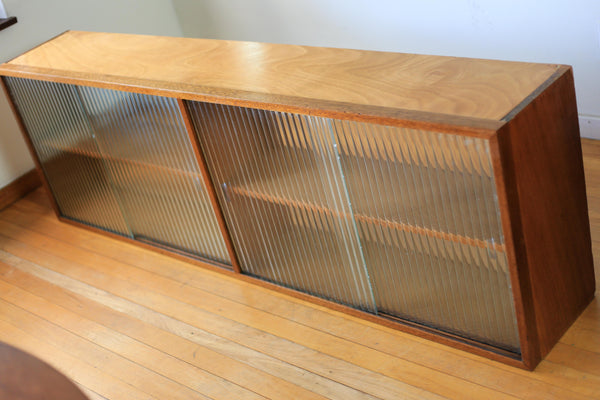 Vintage Kitchen Shelf with Textured Glass Doors