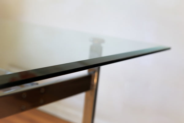 Modern Chrome and Glass Dining Table