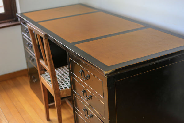 Vintage Black Lacquered Desk with Six Drawers