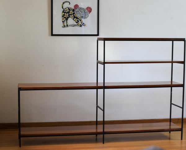 Mid Century Modern Steel and Wood Shelf