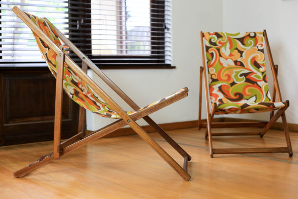 Two Vintage Deck Chairs with New Retro Canvas