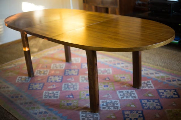 Extendable Oval Rhodesian Teak Table
