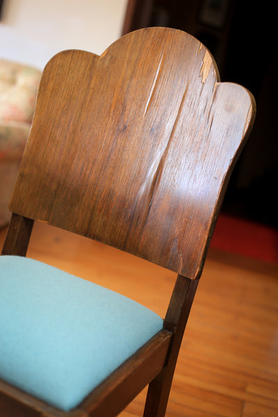 Six Weathered Art Deco Dining Chairs with New Seats