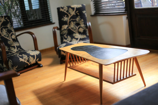 Duros Coffee Table with Black Wood Inlay