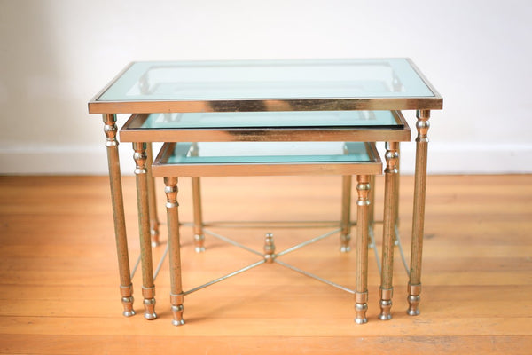 Vintage Steel and Glass Nest of Tables (France)