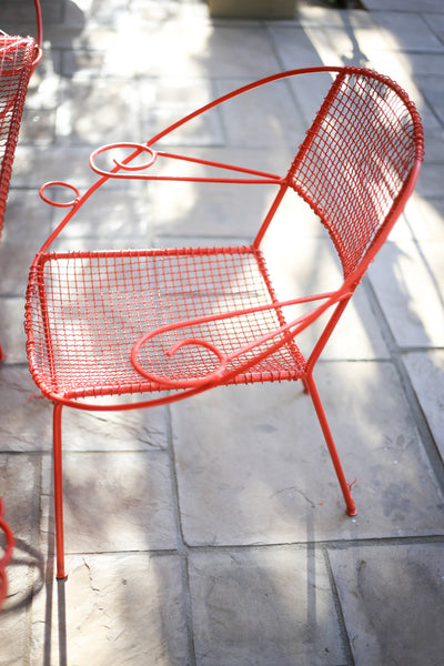 Red Mid Century Modern Patio Set