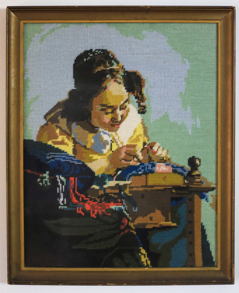Vintage Vermeer 'The Lacemaker' Embroidery