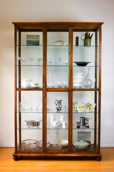 Antique Oak and Glass Display Cabinet