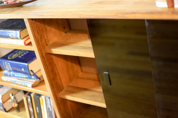 Solid Kiaat Book Case with Black Glass Doors