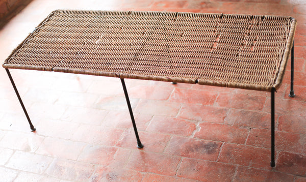 Mid Century Cane and Steel Coffee Table