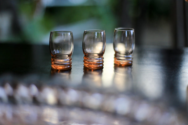 Salmon Pink Vintage Glass Drinks Set