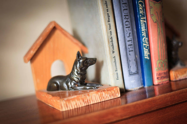 Pair of Brass Watch Dog Bookends
