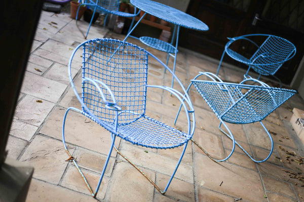 Art Deco Wire Mesh Patio Set