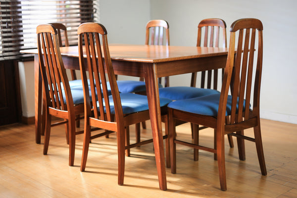 Six Vintage Dining Chairs in the style of Ib Kofod-Larsen