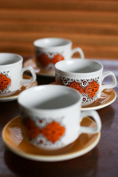 Five Retro Staffordshire Cups and Saucers