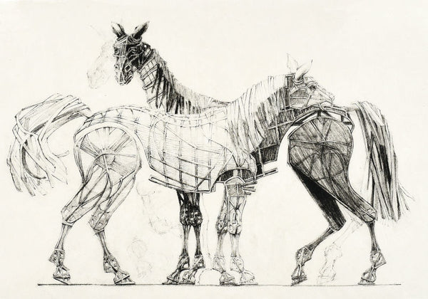 'Warhorse Puppets' by Adrian Kohler. Lithograph.