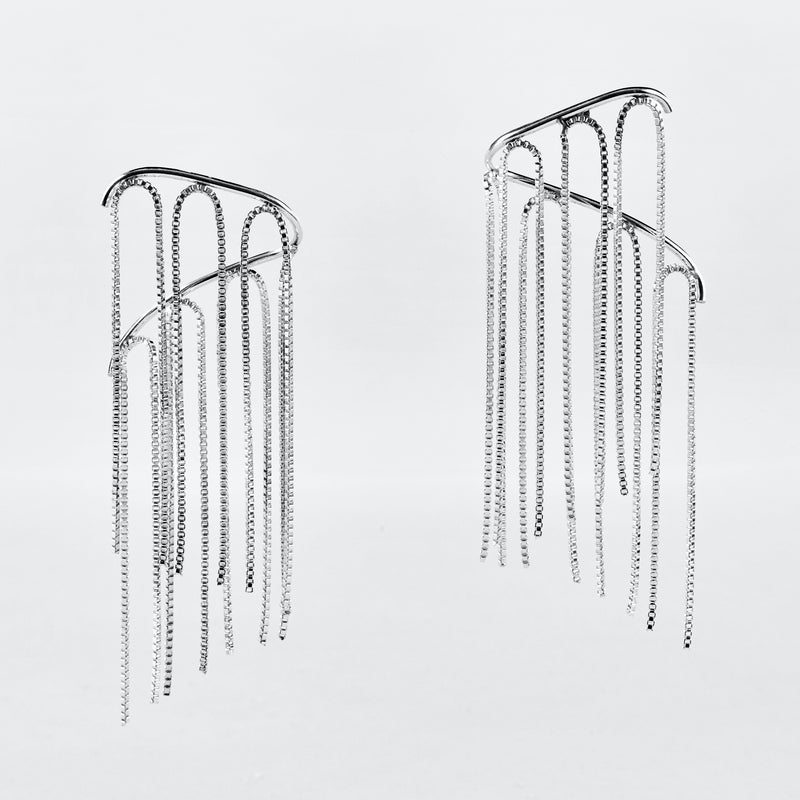 Fringed Curve Earrings, Lrg