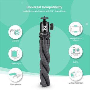 Zeadio Flexible Camera Tripod Kits, with Metal Ball Head Mount and Adapter for Camera,Camcorder, DSLR, Gopro Action Cameras etc