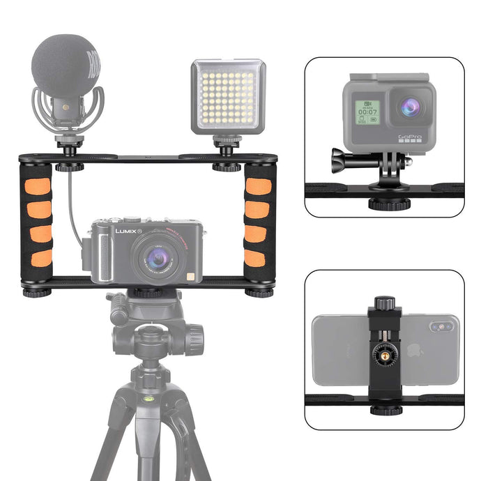 Zeadio Metal Tripod Video Rig, Handle Grip Stabilizer, Vlogging Filmmaking Recording Case for GoPro, DSLR, iPhone, Samsung, Huawei All Cell Phone