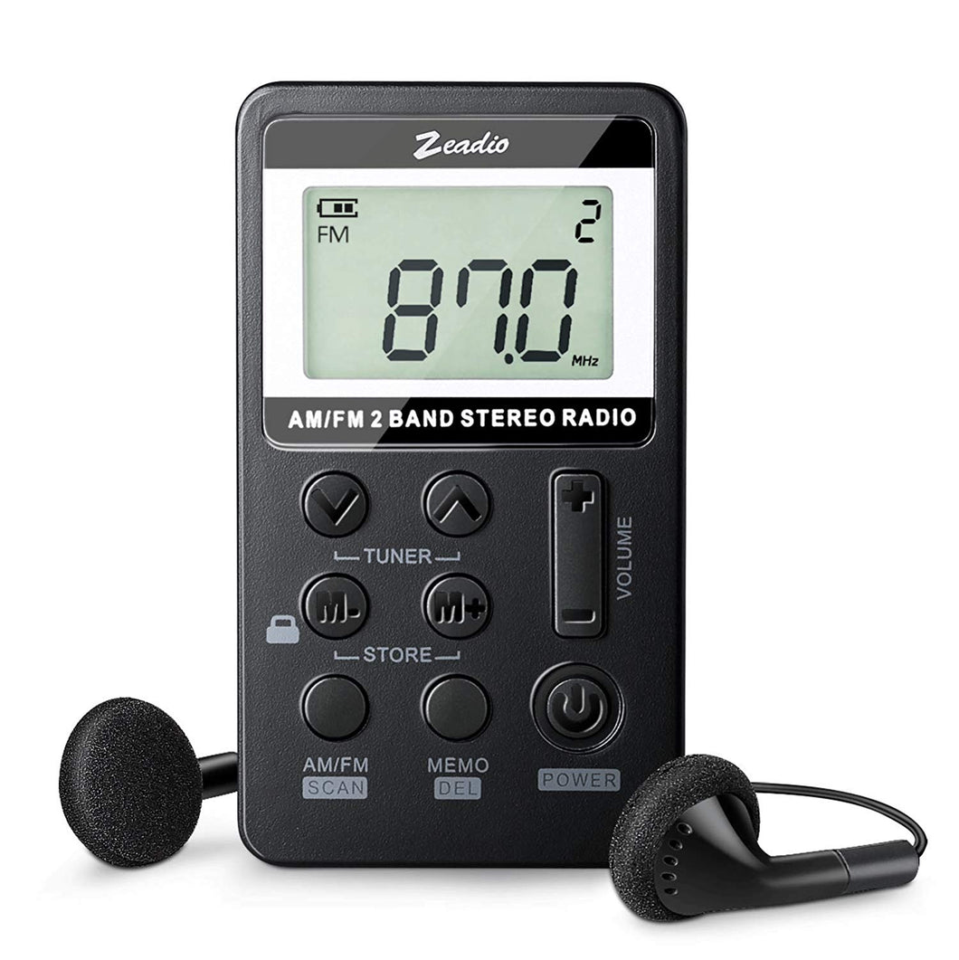 Zeadio Pocket Radio, Portable Mini AM FM Receiver with Rechargeable Battery and Earphone (Black)