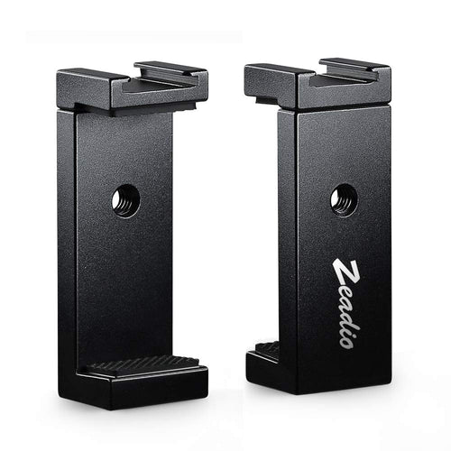 Zeadio Metal Smartphone Tripod Holder, with Hot-Shoe Mount, Fits for iPhone, Samsung, LG, Sony, Huawei, Nexus, Nokia, etc