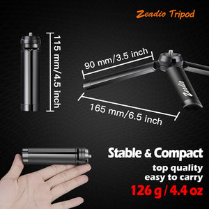 Zeadio Metal Mini Tripod, Desktop Tabletop Stand Compact Tripod for Smooth 4, Osmo Mobile, Vimble 2, Gimbal Handle Grip Stabilizer and All Cameras