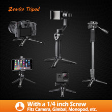 将图片加载到图库查看器,Zeadio Metal Mini Tripod, Desktop Tabletop Stand Compact Tripod for Smooth 4, Osmo Mobile, Vimble 2, Gimbal Handle Grip Stabilizer and All Cameras