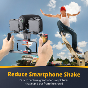Zeadio Bluetooth Smartphone Video Rig, Wireless Grip Stabilizer Cellphone Tripod Mount Holder with Remote Shutter, Fits for All iPhone and Android Smartphones