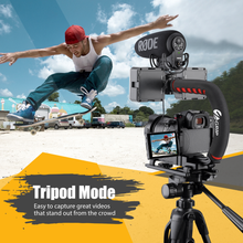 将图片加载到图库查看器,Zeadio Video Action Stabilizing Handle Grip Handheld Stabilizer with Hot-Shoe Mount for Canon Nikon Sony Panasonic Pentax Olympus DSLR Camera Camcorder
