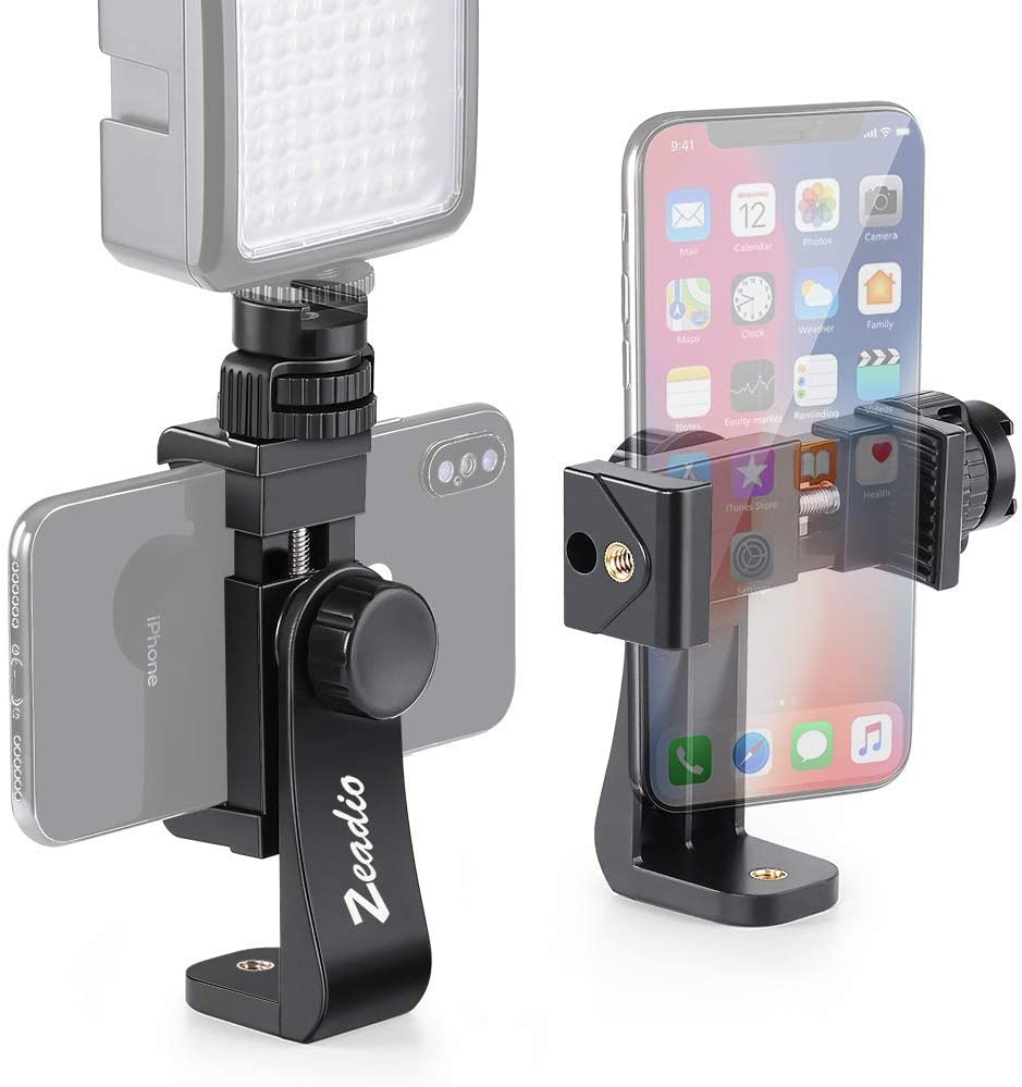 Zeadio Tripod Smartphone Mount, Cell Phone Holder Adapter Clamp with Cold-shoe Mount, Selfie Stick and Monopod Adjustable Clamp, Fits for iPhone, Samsung, Huawei and all Phones