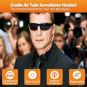 Zeadio Air Tube Covert Earpiece Headset With PTT for 2 PIN Motorola Radio