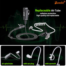 Load image into Gallery viewer, Zeadio Air Tube Covert Earpiece Headset With PTT for 2 PIN Motorola Radio