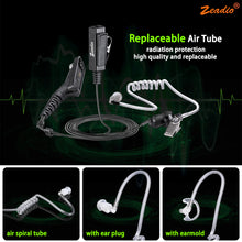 Load image into Gallery viewer, Zeadio Surveillance Covert Air Acoustic Tube Walkie Talkie Earpiece Headset with Push-To-Talk Microphone for Motorola Multipin Two Way Radio