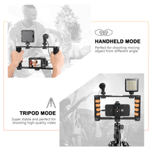 Load image into Gallery viewer, Zeadio Metal Tripod Video Rig, Handle Grip Stabilizer, Vlogging Filmmaking Recording Case for GoPro, DSLR, iPhone, Samsung, Huawei All Cell Phone